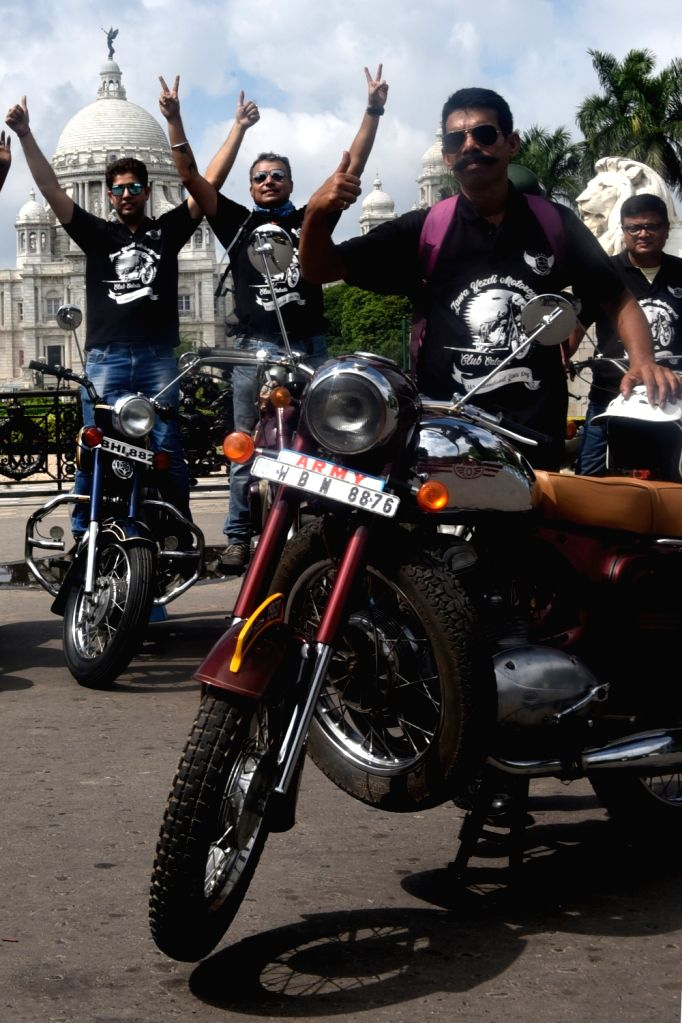 Members of Jawa Yezdi Motorcycle Club of Calcutta (JYMCC) participate in a rally organised on the 16th International Jawa Yezdi Day, in Kolkata, on July 8, 2018. International Jawa Day is ...