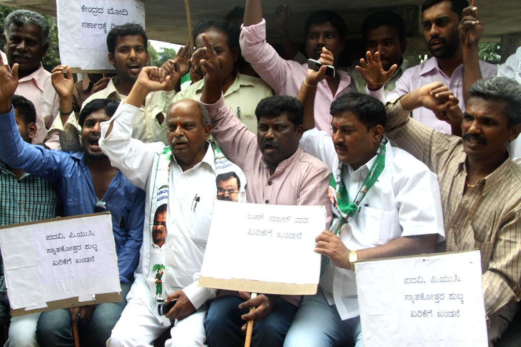 Members of JDs Youth with Bangalore City President Ratan Singh protesting to fulfill their various demands, at Anand Rao Circle, in Bangalore on July 5, 2014. - Anand Rao Circle