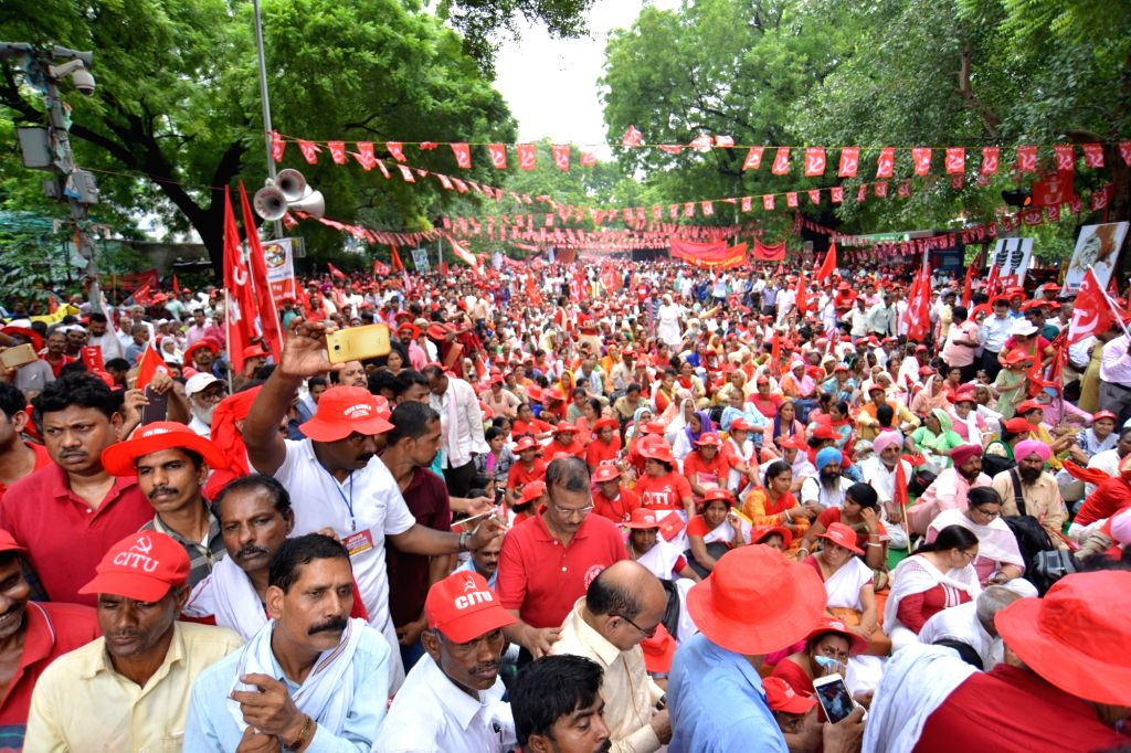 Members of Left-oriented organisationsthe All India Agricultural Workers' Union (AIAWU), the Centre of Indian Trade Unions, and the All India Kisan Sabha (AIKS) participate in Mazdoor ...