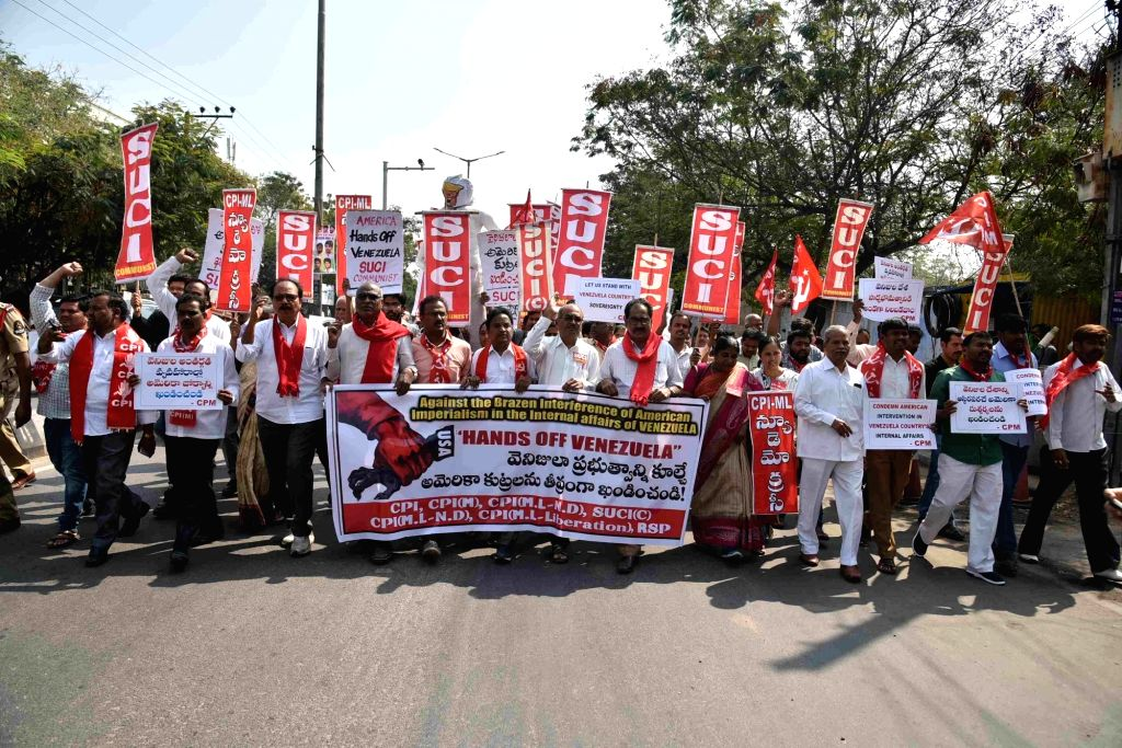 Members of left-wing political parties stage a demonstration to protest against US imperialism on Venezuela; in Hyderabad, on  Feb 2, 2019.