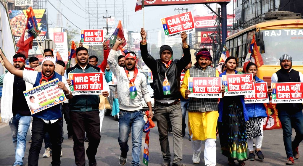 Members of Leftist parties and organisations stage a demonstration during a Bharat Bandh called by the Bahujan Kranti Morcha (BKM) against the Citizenship (Amendment) Act (CAA), National ...