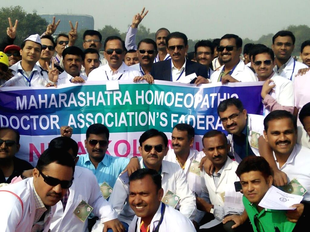 Members of Maharashtra Homeopathic Doctor Association's Federation participate in a rally to support National Medical Commission Bill; in New Delhi on Feb 5, 2018.