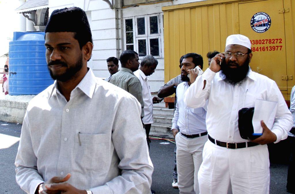 Members of Muslim organisations coming out after a meeting with Tamil Nadu Home Secretary R Rajagopal and representatives of actor Kamal Haasan regarding the controversial movie ... - Kamal Haasan