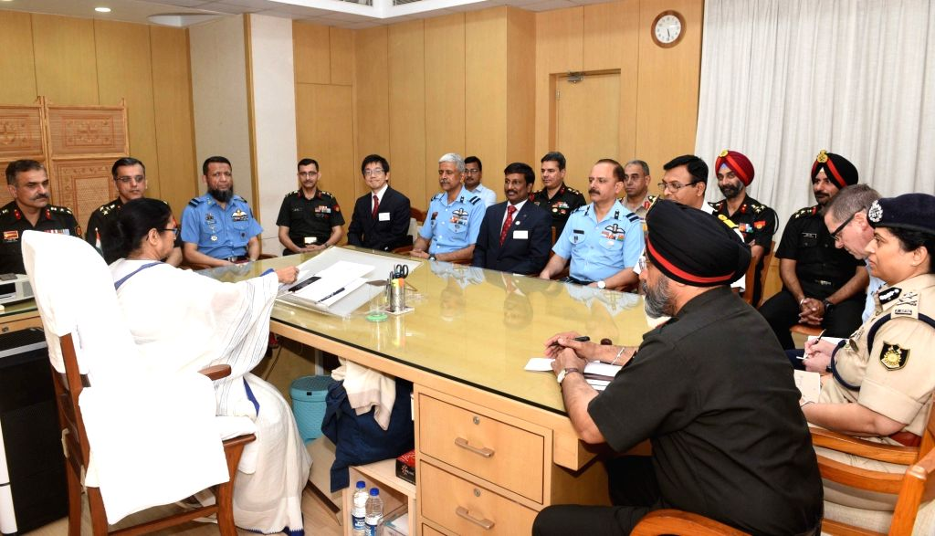 Members of National Defence College meet West Bengal Chief Minister Mamata Banerjee at Nabanna in Howrah on Feb 6, 2020. - Mamata Banerjee