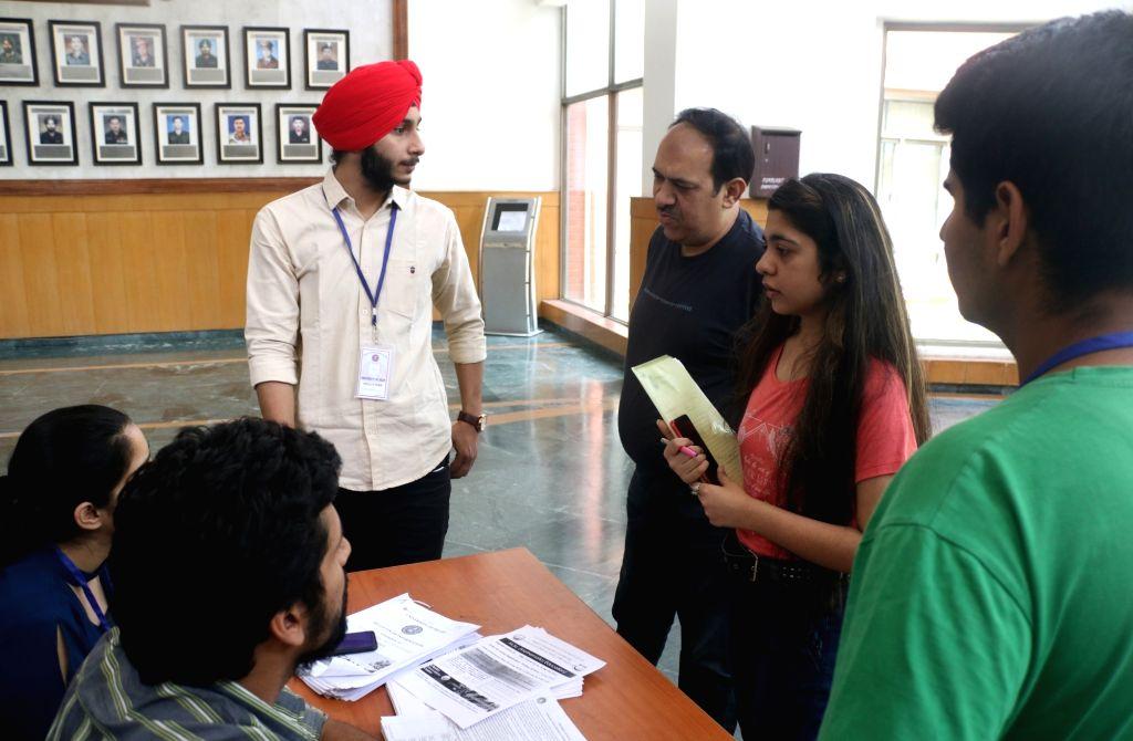 Members of NSUI students wing meeting aspirants at Delhi University in New Delhi on June 1, 2018.