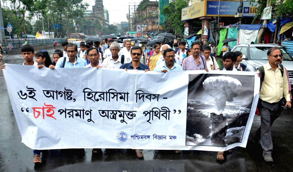 Members of Paschim Banga Vigyan Mancha participate in a rally organised on the 73rd anniversary of the bombing of Japanese city of Hiroshima in Kolkata, on  Aug 6, 2018