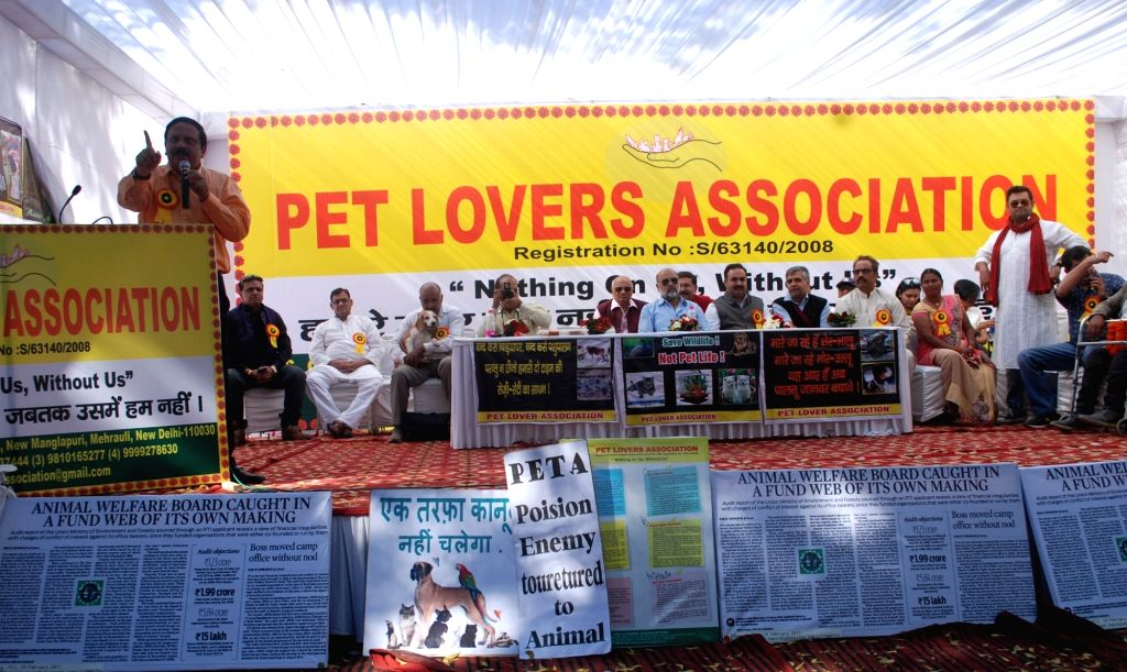 Members of Pet Lovers Association stage a demonstration to press for their demands at Jantar Mantar in New Delhi, on March 5, 2017.
