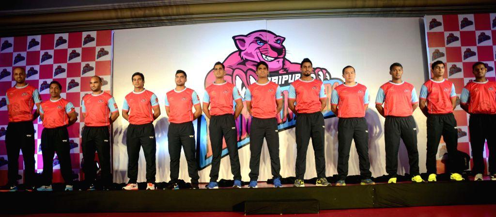 Members of 'Pink Panthers` - kabaddi team ahead of World Kabaddi League (WKL) in Mumbai on July 25, 2014.
