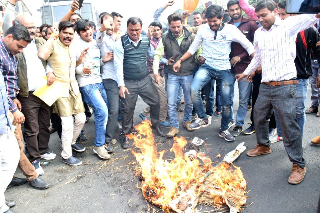 Members of Rajput Samaj stage a protest ahead of the release of Sanjay Leela Bhansali's 'Padmaavat', in Bhopal on Jan 23, 2018.