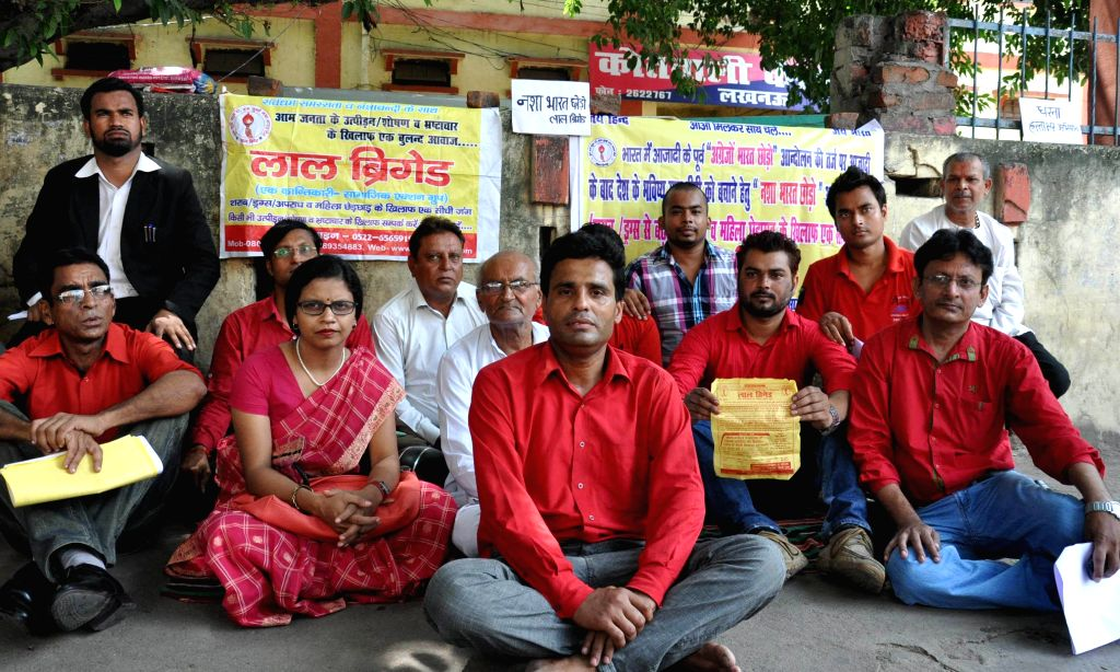 Members of `Red Brigade` during a signature campaign against eve-teasing in Lucknow on Sept 9, 2014.