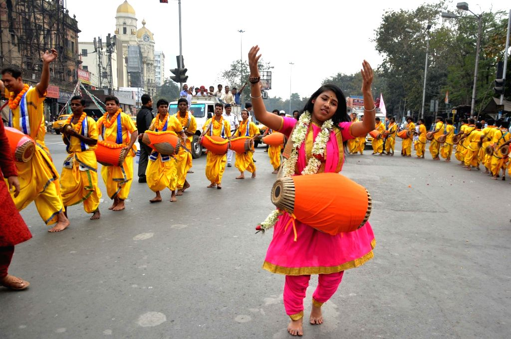 Members of Shri Gaudiya Math and Mission participate in a procession organised on the birth anniversary of Sri Chaitanya Mahaprabhu in Kolkata on Jan 27, 2019.