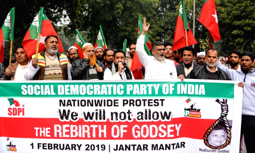 Members of Social Democratic Party of India stage a demonstration in New Delhi on Feb 1, 2019.