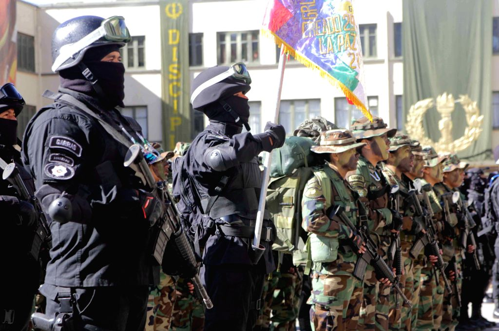 Members of Special Force of Fight Against Drug Trafficking (FELCN) take part in a special event for 28th anniversary of its founding which is presided by Bolivian ...