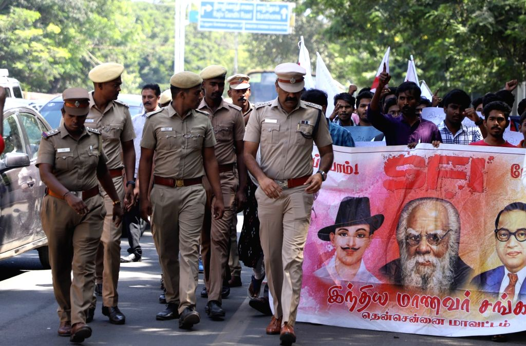 Members of Students Federation of India (SFI) stage a demonstration over the suicide of Fathima Latheef, a first year student of the Indian Institute of Technology Madras (IIT-M) outside the ...