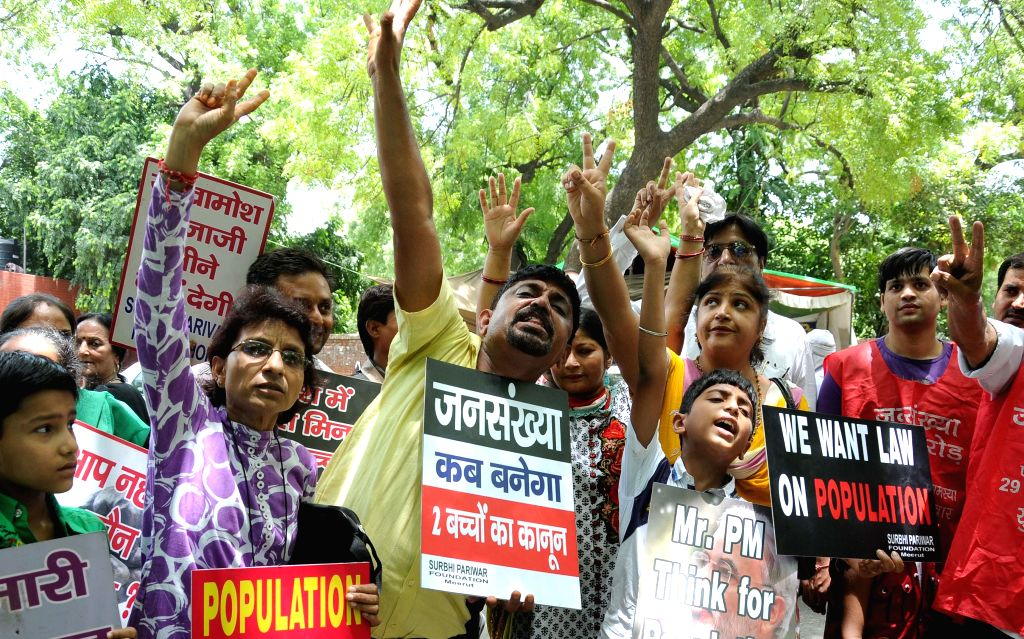 Members of Surbhi Pariwar Foundation stage a demonstration at Jantar Mantar on World Population Day in New Delhi on July 11, 2014.