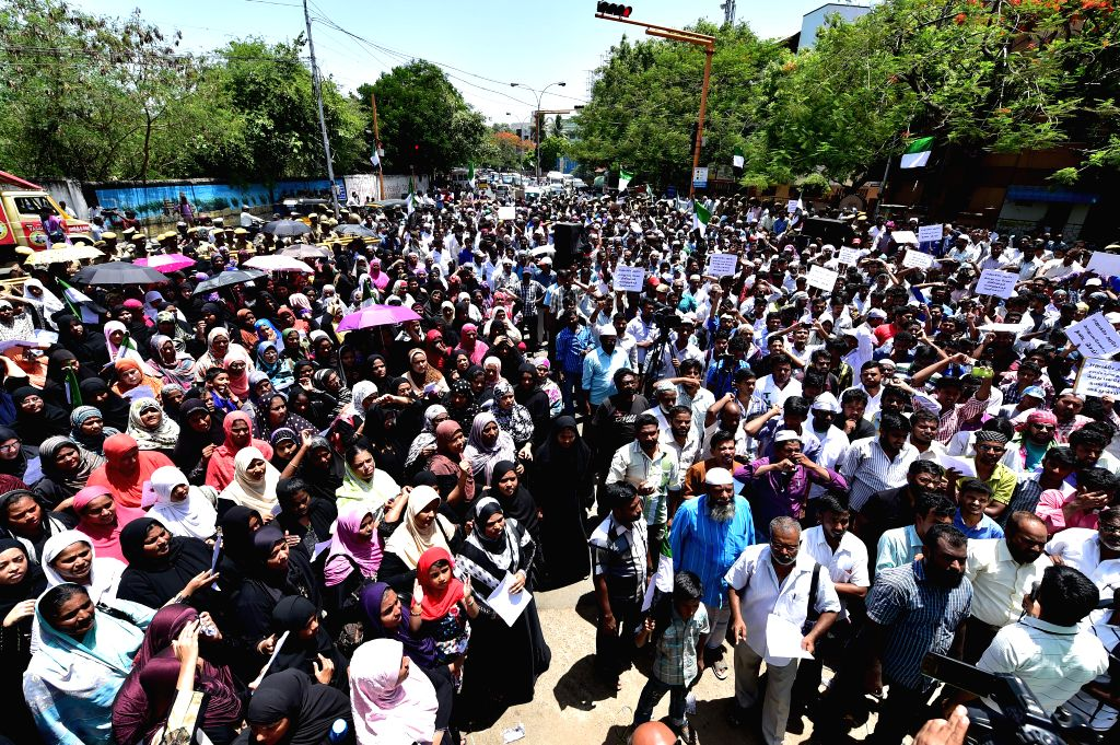 Members of Tamil Nadu Thowheed Jamath during a protest in front of Sri Lankan Embassy in Chennai on June 17, 2014.