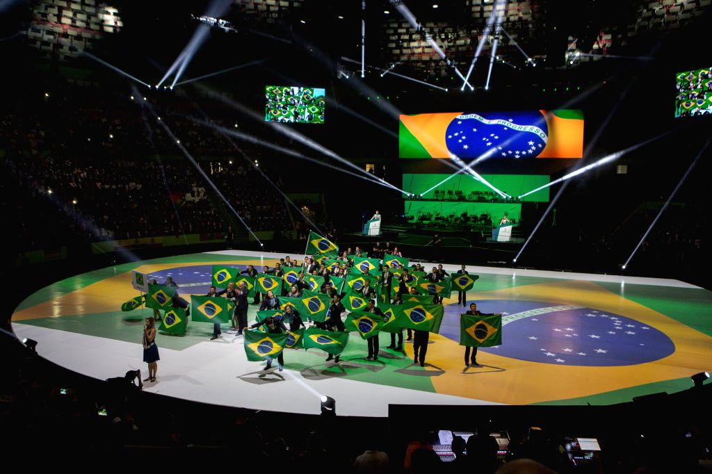 Members of the Brazilian team attend the opening ceremony of the 43rd Worldskills in Sao Paulo, Brazil, Aug. 11, 2015. The 43rd Worldskills, the world's largest ...