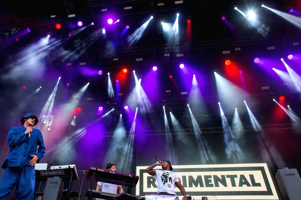 Members of the British drum and bass band Rudimental perform during the Sziget (Island) Festival on the Obuda Island in Budapest, Hungary, Aug. 16, 2015. The ...