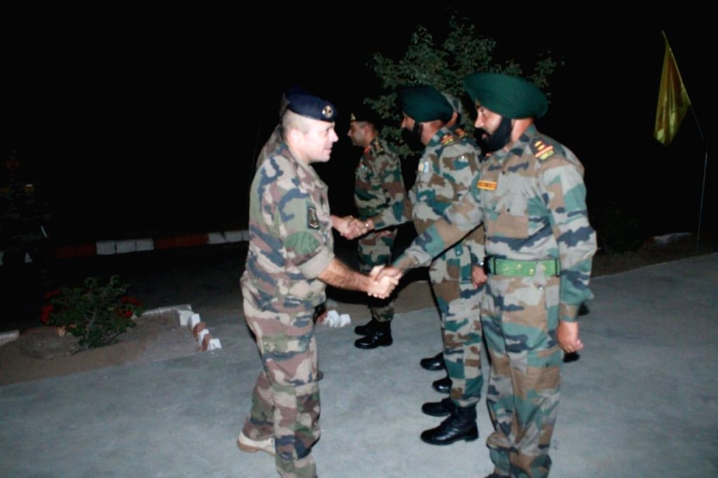 Members of the French Army being welcomed by the Indian Army on their arrival to participate in the Indo-French exercise SHAKTI-2019, in Bikaner. The French Army contingent comprising 38 ...
