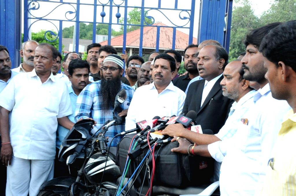 Members of the Joint Action Committee of the Telangana State Road Transport Corporation (TSRTC) talk to the media after a hearing in the High Court on Public Interest Litigations (PILs), ...