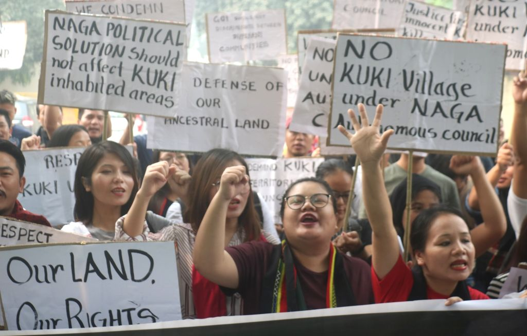Members of the Kuki tribe stage a demonstration to press for their various demands including the inclusion of Kuki inhabited areas in the Naga Autonomous Council; in New Delhi on Oct 30, ...
