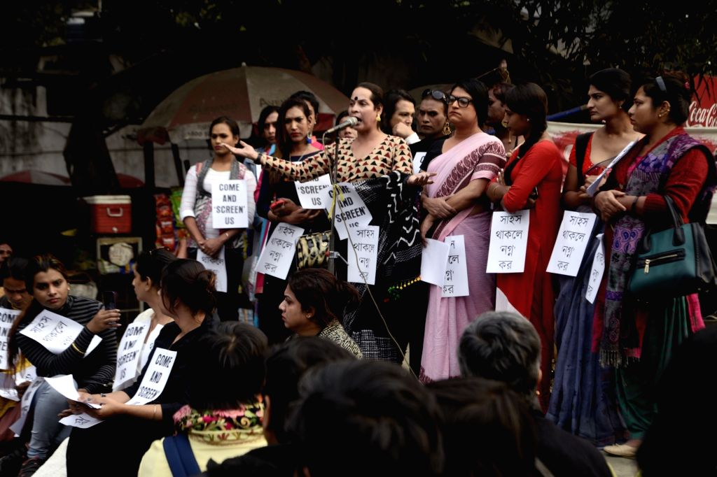 Members of the LGBT community stage a demonstration against Transgender Persons Rights Bill in Kolkata, on Jan 28, 2019.