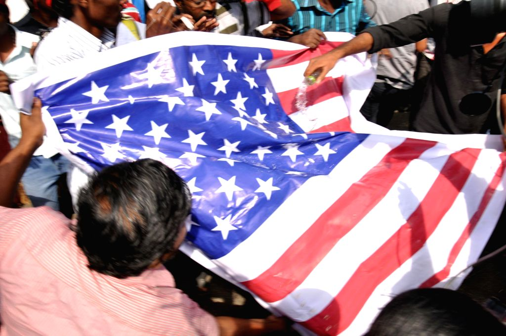 Members of various students organisation during a protest outside the American consulate in Chennai against the alleged humiliation of Indian diplomat Devyani Khobragade, on Dec. 21, 2013.