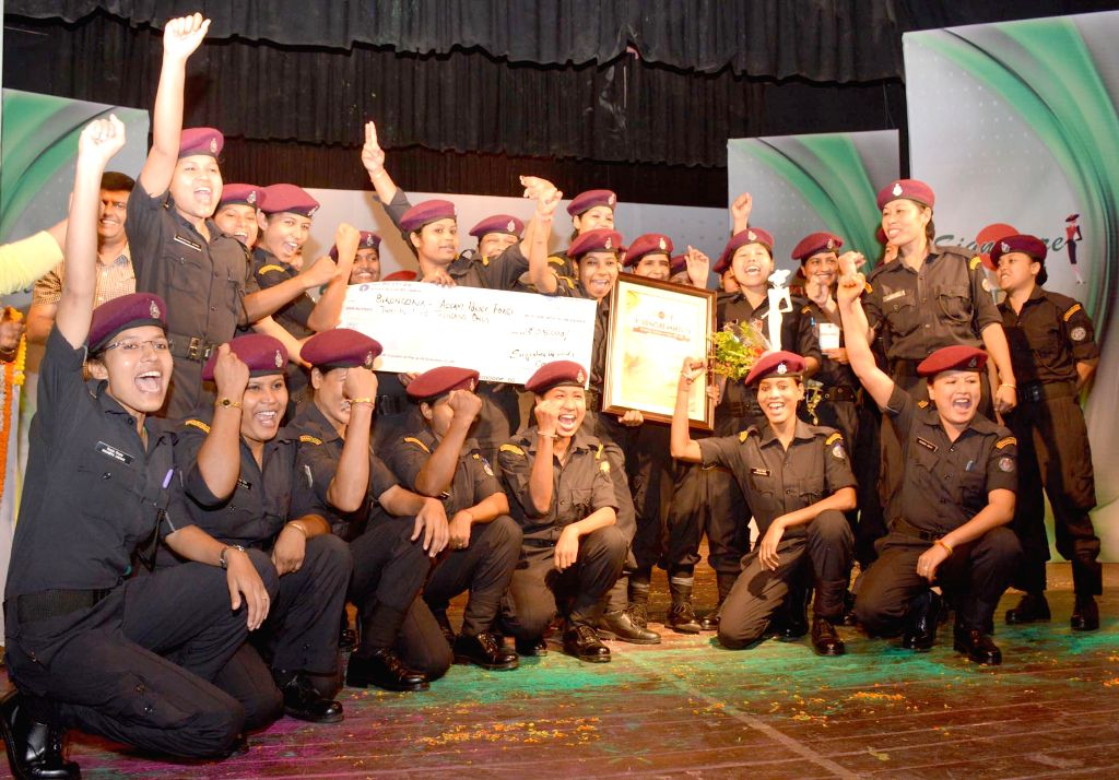 Members of `Veerangana`, a team of police women pose for a photograph during `Signature Awards 2014` in Guwahati on Sept 10, 2014.