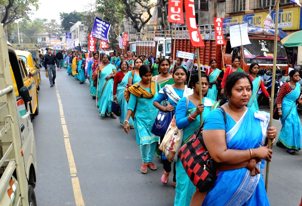 Members of West Bengal Anganwadi Workers'and helpers Union stage a demonstration to press for their various demands, in Kolkata on Feb 5, 2020.