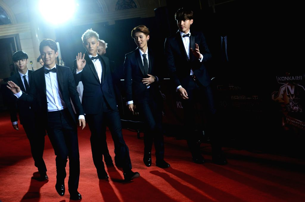 Memebers of Chinese group EXO-M - a boy band during the 18th Global Chinese Chart in Macau of China on April 23, 2014.