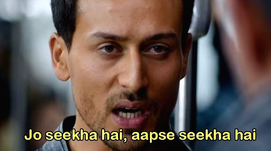 "Memes on Tiger's dialogue to Hrithik: ""Jo seekha hai aapse seekha hai"". This line is used to poke fun at Govinda and Ranveer Singh's fashion sense. - Ranveer Singh"