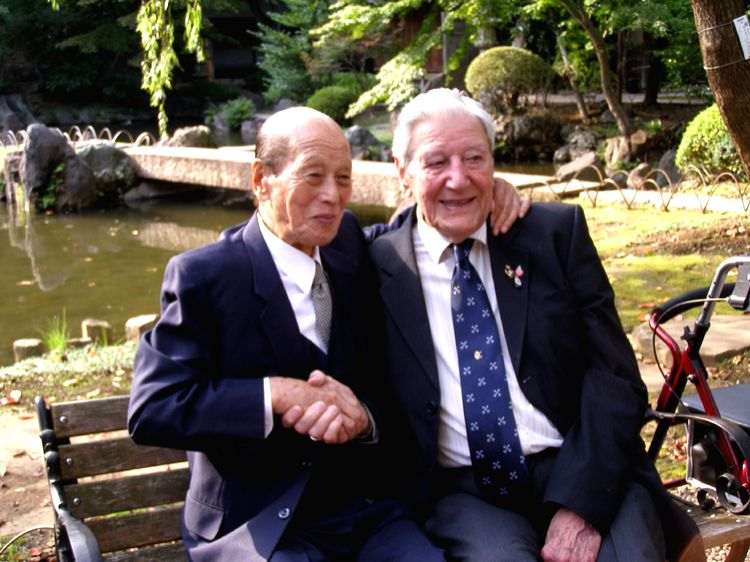 Memories of a Forgotten War Working Still from  Yasukuni Shrine, Tokyo, featuring WW II veterans Isobe Kiichi from Japan (Left) and Roy Welland from Britain