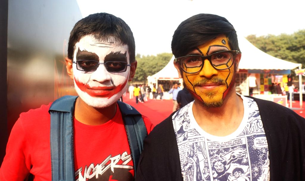 """Men dressed up as various comic characters at the three-day fest - """"Comic Con"""" in New Delhi on Dec 7, 2018."""