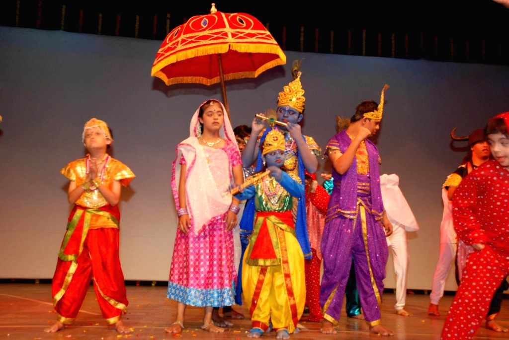 Mentally challenged children performing at Rang Birangi show, Organised by Parents of Downs Syndrome Association at St Andrews in Mumbai.