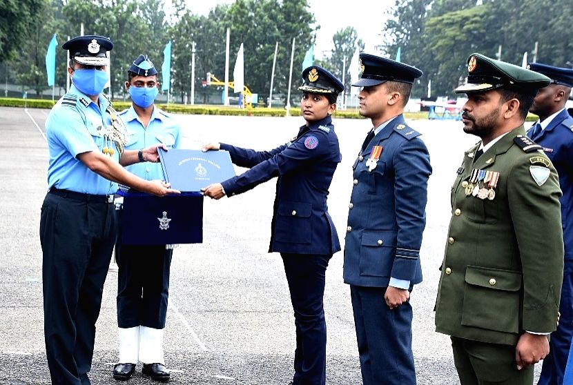 Meritorious officers being felicitated at the Passing out Parade of Permanent Commission & Short Service Commission/95 Aeronautical Engineering Course at Air Force Technical College ...