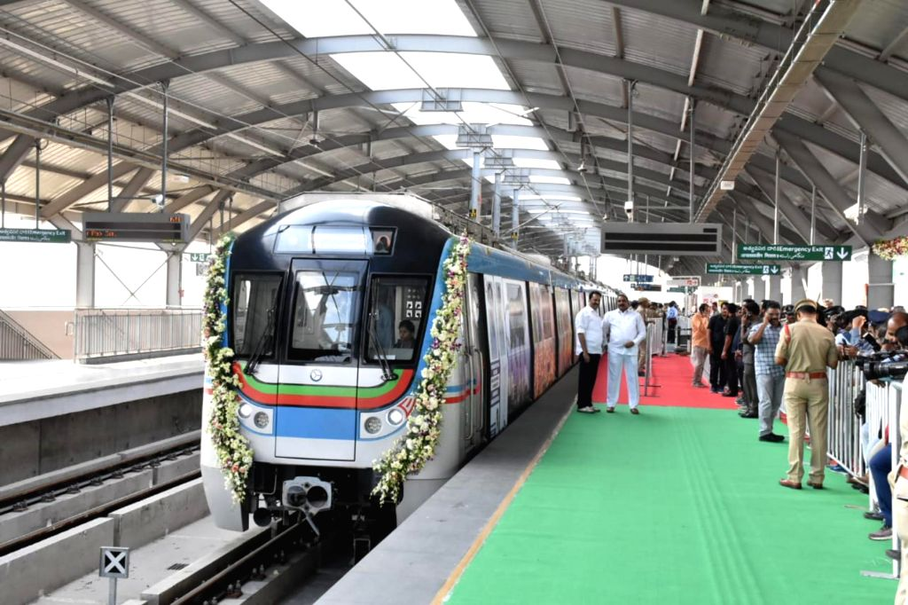 Metro Rail Corridor-II (Green Corridor) between Jubilee Bus Station (JBS) and Mahatma Gandhi Bus Station (MGBS) will be inaugurated by Telangana Chief Minister K Chandrasekhar Rao in ... - K Chandrasekhar Rao and Gandhi Bus Station
