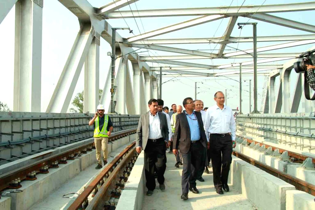 Metro Rail Safety (CMRS) Commissioner HMRL managing director NVS Reddy, Commissioner of Metro Rail Safety JK Garg, senior engineers and other officials inspect the route between JBS and ... - N