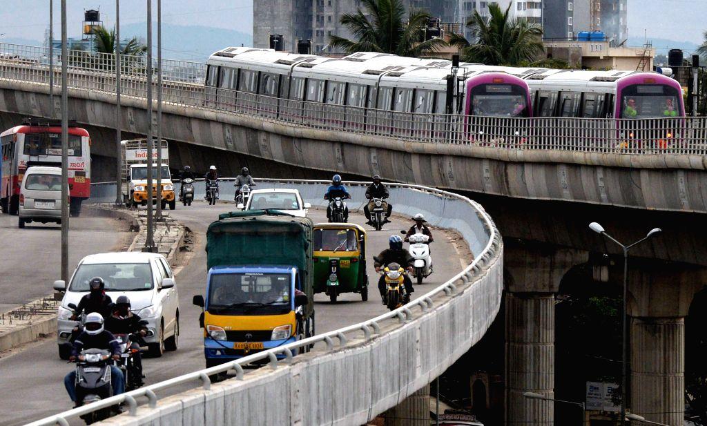 Metro rakes at Bengaluru metro station during the inauguration of Magadi Road to Mysore Road East Metro line in Bengaluru on Nov. 16, 2015.