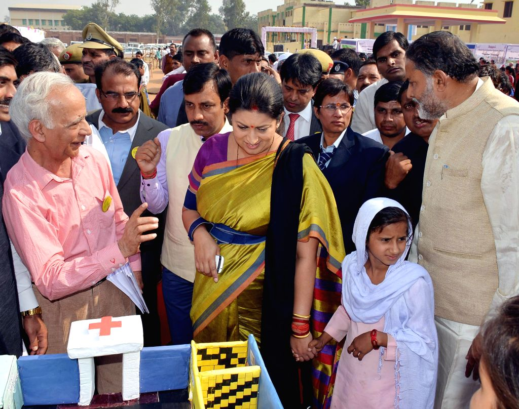 Union HRD Minister Smriti Irani during her visit to a school in Mewat District, Haryana on Nov 19, 2014.