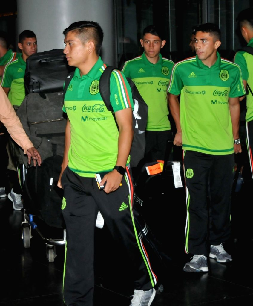 Mexican players arrive at Netaji Subhas Chandra Bose International Airport ahead of FIFA U17 World Cup in Kolkata, on Oct 4, 2017.