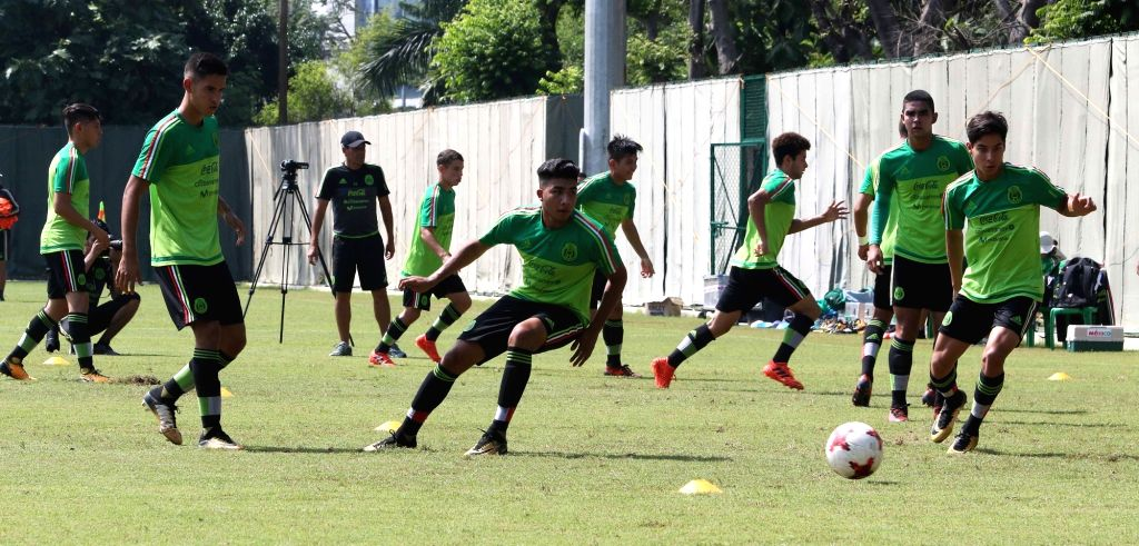 Mexican players in action during a practice session ahead of FIFA U17 World Cup 2017 at Sports Authority of India ground in Kolkata, on Oct 6, 2017.