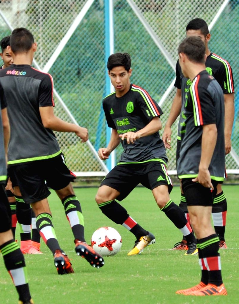 Mexican players in action during a practice session ahead of the FIFA U 17 World Cup India 2017 match against Korea at Salt Lake Stadium in Kolkata on Oct 10, 2017.