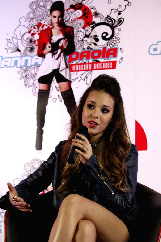 Mexican tv celebrity Danna Paola speaks during a press conference to promote her homonym album in Mexico City, Mexico, 15 August 2013. Danna Paola said she is very proud of being the first Latin ...