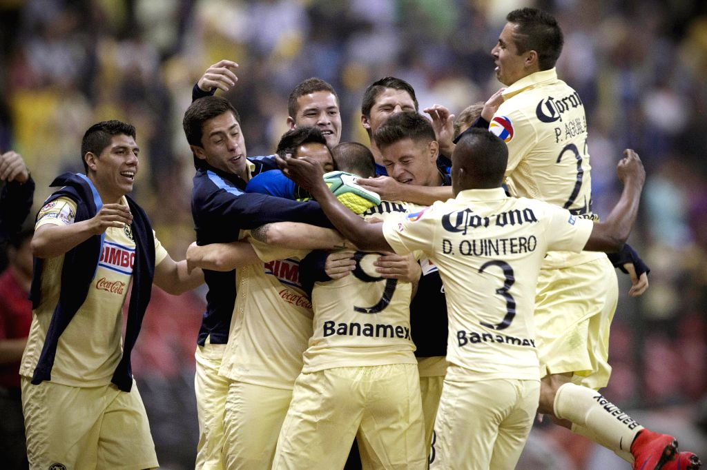 Team America celebrates after scoring during the second-leg semifinal match of the Confederation of North, Central American and Caribbean Association Football ...