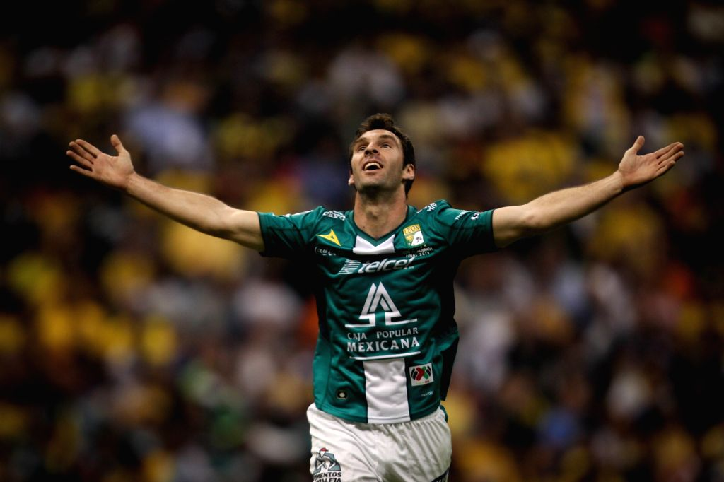 Leon's Mauro Boselli celebrates after scoring during the second leg final match of the Liga MX against America, held in Azteca Stadium in Mexico City,