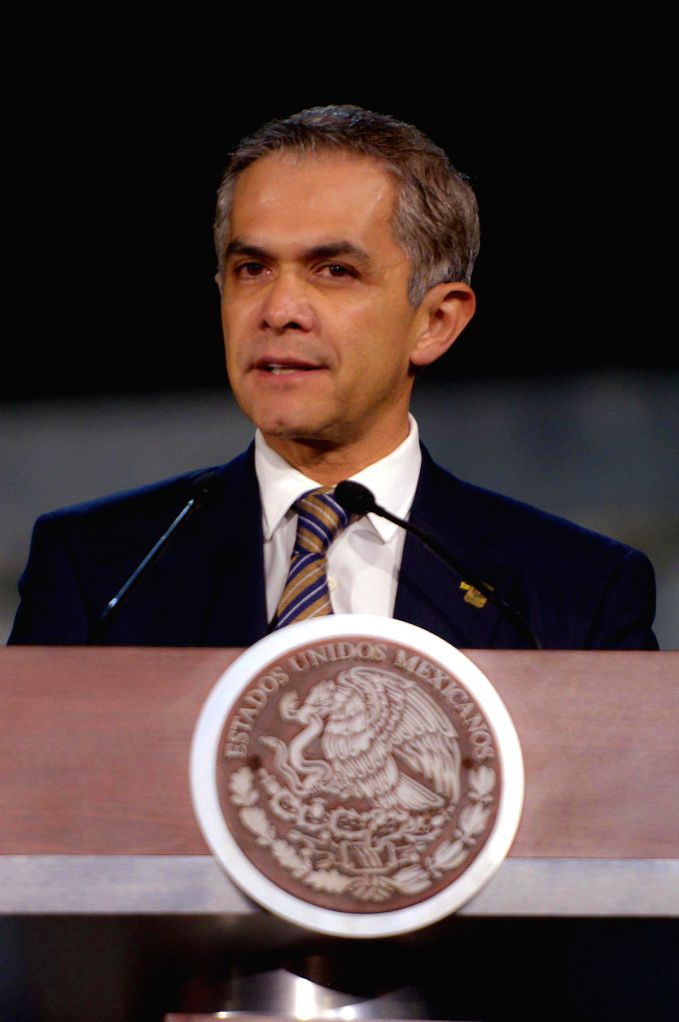 "MEXICO CITY, June 18, 2016 - Image provided by Mexico's Presidency shows Mayor of Mexico City Miguel Angel Mancera addressing the ceremony denominated ""Penal Justice Reform: A State Commitment ..."
