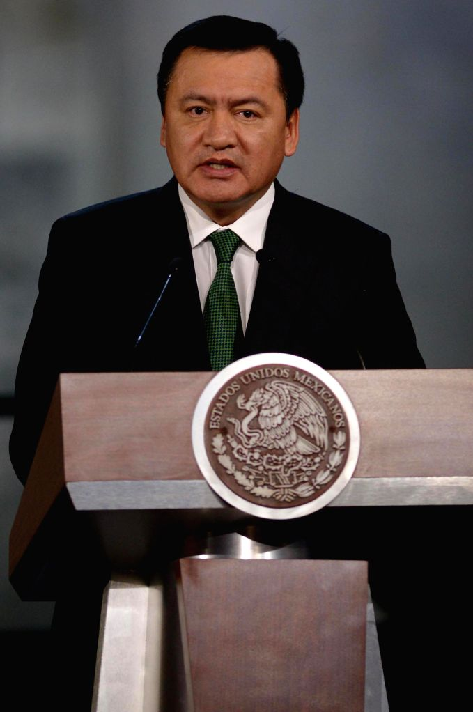 "MEXICO CITY, June 18, 2016 - Image provided by Mexico's Presidency shows Mexican Interior Secretary Miguel Angel Osorio Chong addressing the ceremony denominated ""Penal Justice Reform: A State ..."