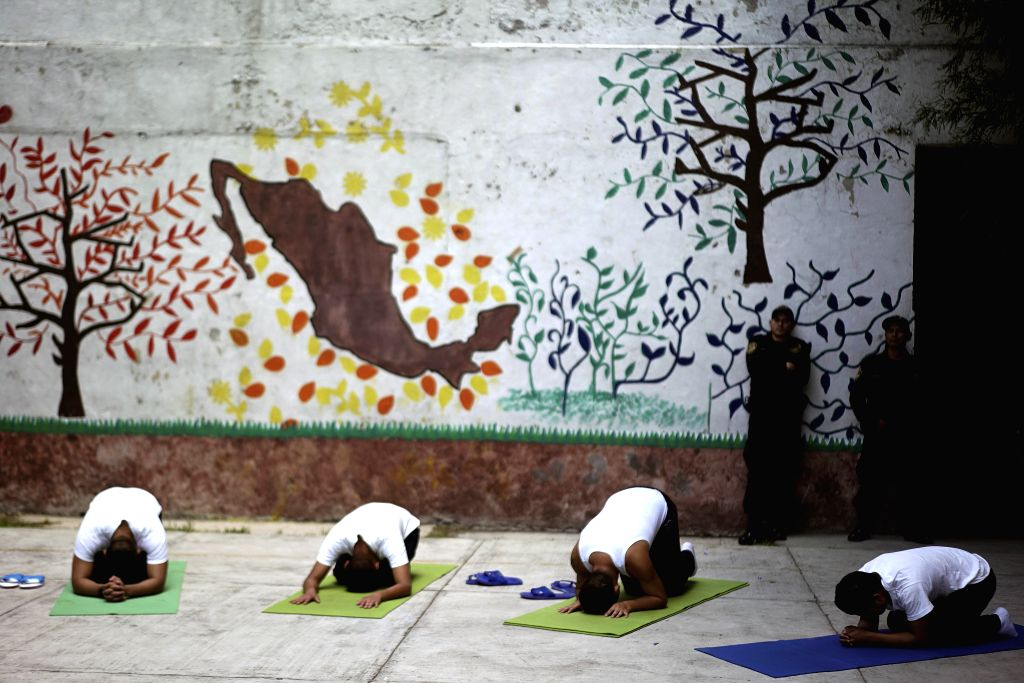 MEXICO CITY, June 22, 2017 - Interns take part in a yoga class for youngsters at the Community of Integral Diagnosis for Adolescents detention center, imparted by yoga teacher Fredy Alan Diaz Arista, ...