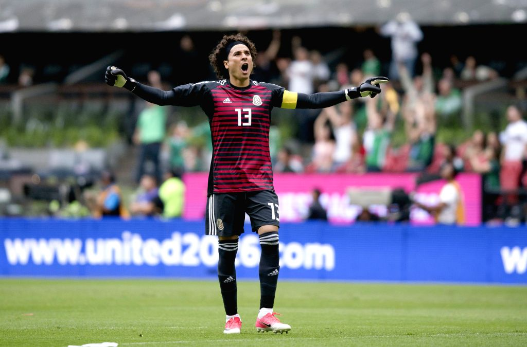 MEXICO CITY, June 3, 2018 - Goalkeeper Guillermo Ochoa of Mexico celebrates a goal during the international friendly match against Scotland before the 2018 FIFA World Cup in Mexico City, capital of ...