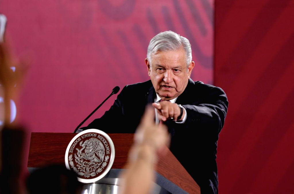 MEXICO CITY, June 4, 2019 (Xinhua) -- Mexican President Andres Manuel Lopez Obrador speaks during a press conference at the National Palace, in Mexico City, capital of Mexico, on June 3, 2019. Mexican president Andres Manuel Lopez Obrador said Monday